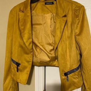 Velvet mustard blazer